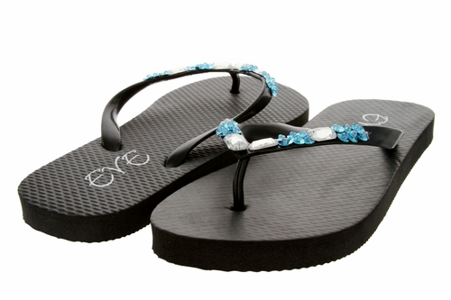 1296 Women Summer Bling Flip Flops Sandals - Black
