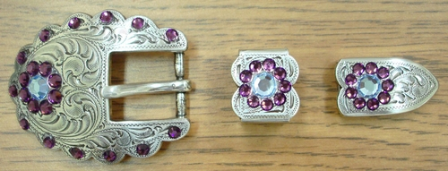 140400874 Rhinestone Belt Buckle Set 3/4""