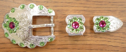 140401015 Rhinestone Belt Buckle Set 3/4""