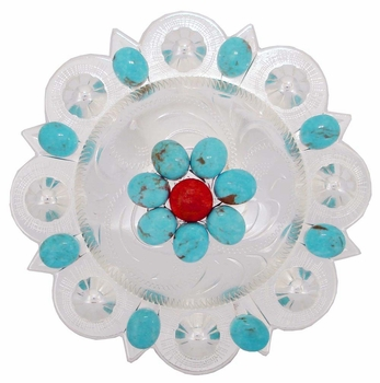 """183683032 Berry Concho with Turquoise Size 4 1/4"""""""