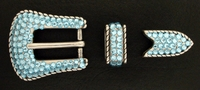 202077273 Aquamarine Rhinestones Buckle Set 3/4""