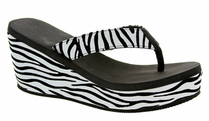 22109-321 Summer wedge sandals - White/Black combo