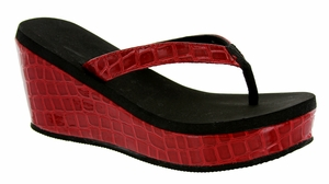 22115-833 Summer wedge sandals - Red combo