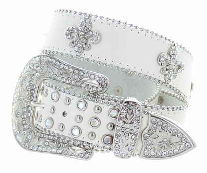 3608 Crystal Stones With Fleur-de-lis Western Belt - White