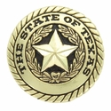 3837 The State of Texas Antique Gold Texas Seal (Rivet Back Concho)