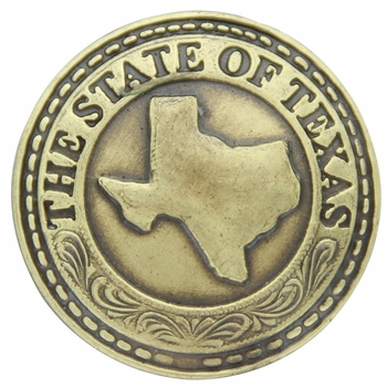 3855 The State of Texas Antique Brass Concho (Rivet Back Concho)
