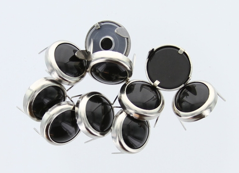 T2202-2P Black  5/16 inches(8.2mm) Synthetic Crystal Gem Round Spots 10/pk