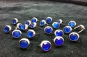 T2202-2P Dark Blue   5/16 inches(8.2mm) Synthetic Crystal Gem Round Spots 10/pk