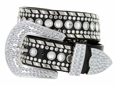 "50118 Rhinestone Western Belt 1.5"" Wide - Black"