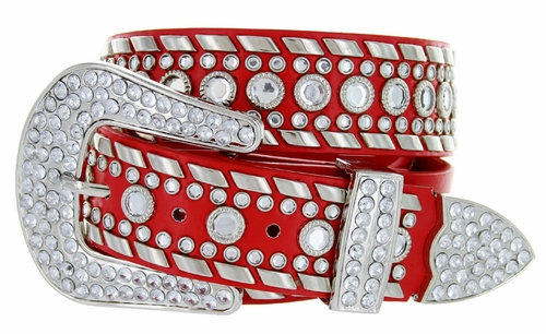 "50118 Rhinestone Western Belt 1.5"" Wide - Red"