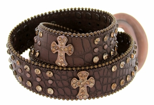 50121 Genuine Leather Rhinestone Cross Conchos Studded Belt - Brown