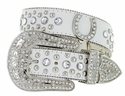 50125 Western Cowgirl Bling Horseshoe Rhinestone Leather Belt - White