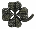 "6022 Black Clover shaped 1 3/8"" rhinestone concho"