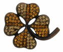 "6022 Brown Clover shaped 1 3/8"" rhinestone concho"