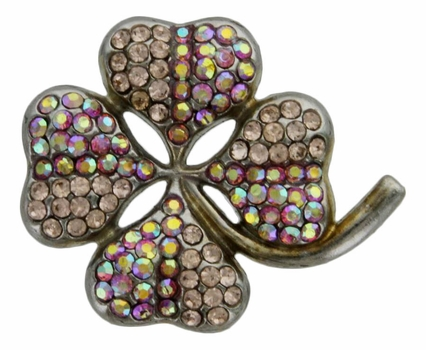 "6022 Light Rose Clover shaped 1 3/8"" rhinestone concho"