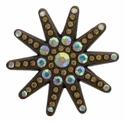 6029 Brown Nickel Plated Sunburst Rhinestone Concho 1 1/2""