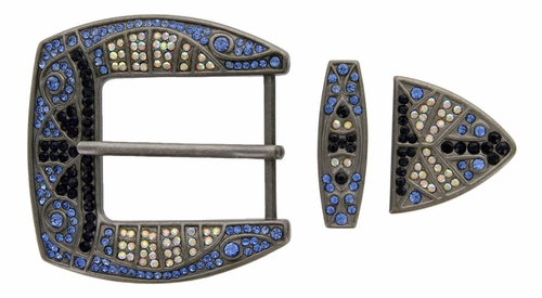 "6039 Blue Three Piece Rhinestone Buckle Set for a 1 1/2"" Belt"