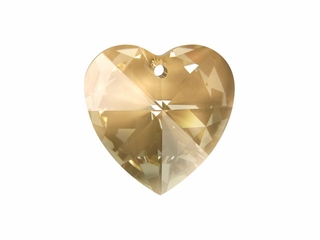 6202 28mm Faceted Heart Pendant Crystal Golden Shadow