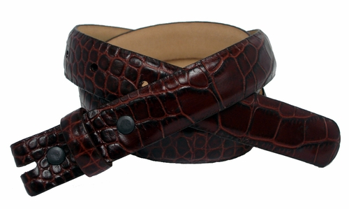 "Alligator Grain 1"" wide Brown Belt Strap"