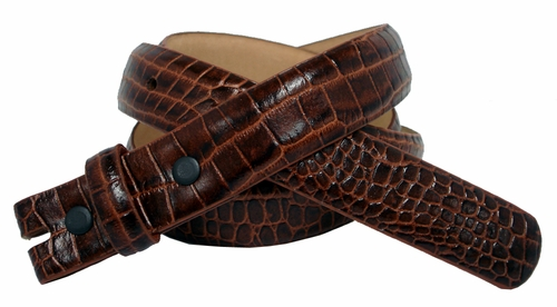 "Alligator Grain 1"" wide Tan Belt Strap"