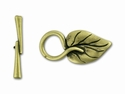 Antique Vintage Brass-Plated Pewter Ivy Leaf Toggle Clasp @1 Set