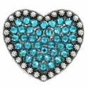 Berry Heart Concho with Swarovski Rhinestone - Blue Zircon