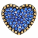 Berry Heart Concho with Swarovski Rhinestone - Capri Blue
