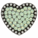 Berry Heart Concho with Swarovski Rhinestone - Chrysolite Opal