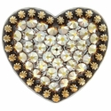 Berry Heart Concho with Swarovski Rhinestone - Crystal Metallic Shine
