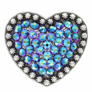 Berry Heart Concho with Swarovski Rhinestone - Crystal Scarabaeus Green