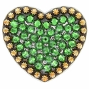 Berry Heart Concho with Swarovski Rhinestone - Fern Green