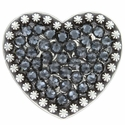 Berry Heart Concho with Swarovski Rhinestone - Graphite