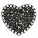 Berry Heart Concho with Swarovski Rhinestone - Jet