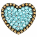 Berry Heart Concho with Swarovski Rhinestone - Lt. Turquoise