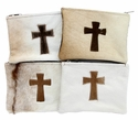 Brown Fur Cross Cosmetic Bag
