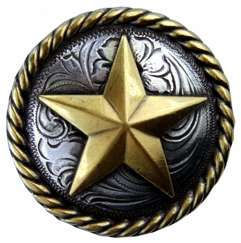 "BS9156-1  SRTPGP 1"" Antique Silver/Gold Star Round Rope Edge Concho"