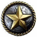 "BS9156-2  SRTPGP 1 1/4"" Antique Silver/Gold Star Round Rope Edge Concho"