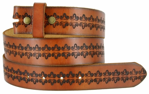 "BS042 Genuine Full Grain Tooled Leather Belt Strap 1-1/2"" Wide"