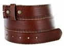 "BS085 Full Grain Tooled Leather Brown Belt Strap 1 1/2"" wide"