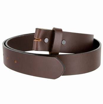 "BS105035 One Piece Full Genuine Leather Belt Strap 1-3/8"" (35mm) Wide-Brown"