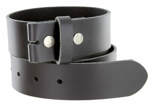 "BS105038 One Piece Full Genuine Leather Belt Strap 1-1/2"" (38mm) Wide-Black"
