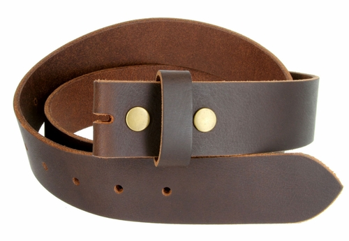 "BS1300 Brown Belt Strap Buffalo Full Grain Leather 1-1/2"" Wide"