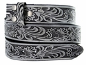 "BS220 Western Embossed Snaps On Belt Strap 1-1/2"" Wide - Gray"