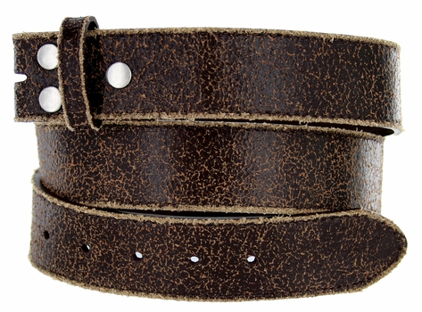 "BS56 Brown Distressed Leather Belt Strap 1 1/2"" Wide"
