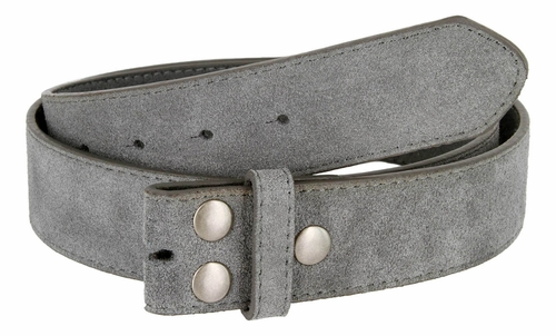 "BS66 Gray Suede Leather Belt Strap 1 1/2"" Wide"
