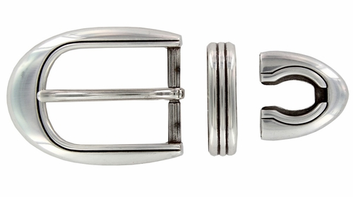 BS8168 LASRP 1 1/8'' Antique Silver Belt Buckle Set