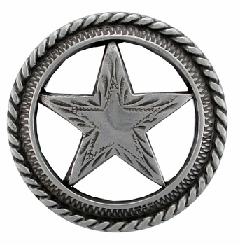 "BS9112 SRTP  1 1/8"" SILVER FINISH  ENGRAVED STAR CONCHO"