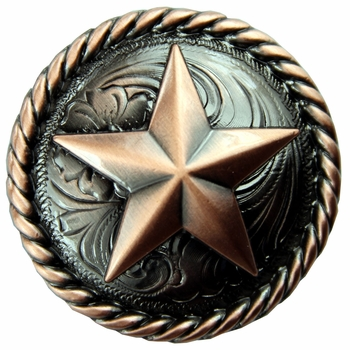 "BS9156-3  Copper  1 1/2"" Star Round Rope Edge Concho"
