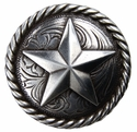 """BS9156-3 SRTP 1 1/2"""" Antique Silver Plated Round Rope Edge Star Concho"""