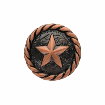 "BS9156  Copper  3/4""  Star Round Rope Edge Concho"